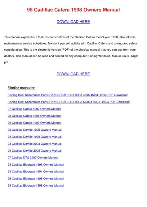free download parts manuals 1993 cadillac eldorado transmission control 98 cadillac catera 1998 owners manual by milfordmueller issuu