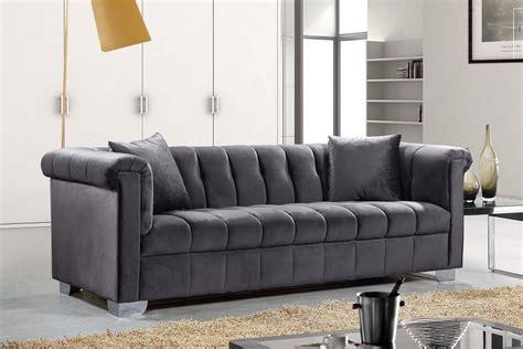 Velvet Tufted Sofa by Meridian Furniture 615 Grey Velvet Tufted Chrome
