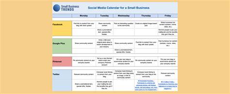 social media calendar template  small business