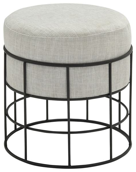 metal outdoor fabric stool black and light gray