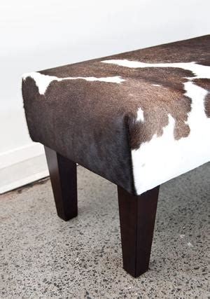 Cowhide Bench Seat by Bench Cowhide Ottomans Bed End Ottoman Cowhide Ottoman