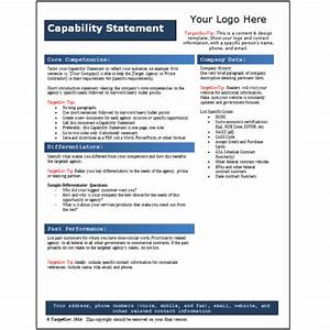 capability statement editable template blue targetgov With capabilities statement template