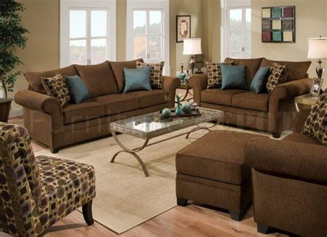 ... Brown Fabric Sofa & Loveseat Set W