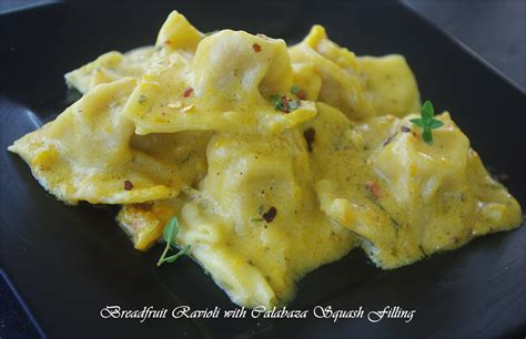 Pumpkin Ravioli Filling by Breadfruit Ravioli With Calabaza Squash Filling Extras