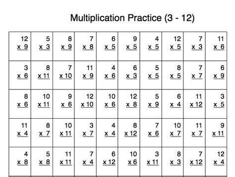multiplication practice problems 100 problems with