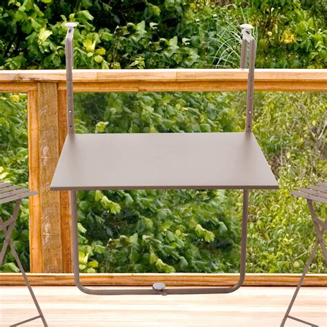 table cuisine escamotable ou rabattable table de balcon pliante 60x53cm pop taupe