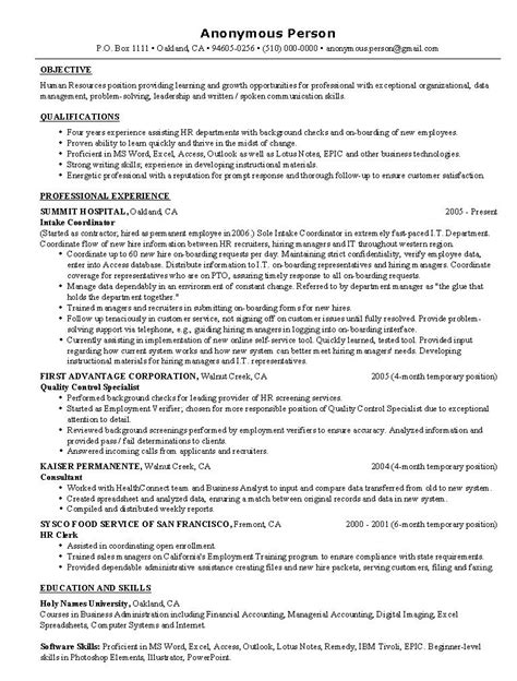 human resource resume sles hr resume exle sle human resources resumes