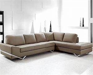 Modern latte leather sectional sofa set 44l0744s for Sectional sofa sets online