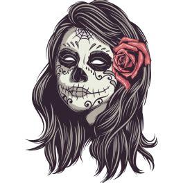 autocollant pour cuisine stickers tête de mort mexicain femme color stickers
