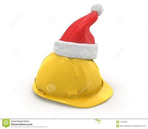 yellow helmet with santa claus hat on top royalty free
