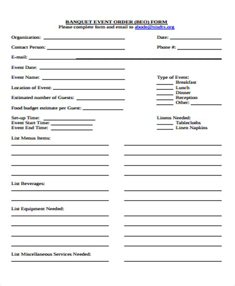 banquet event order template 9 event order forms free sles exles format free premium templates