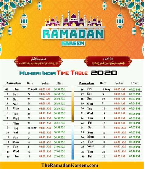 india ramadan timetable fasting timing prayer time