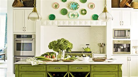 green color kitchen cabinets using color in the kitchen coastal living 3979