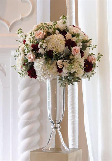 Tall Wedding Arrangement In Blush White And Burgundy In