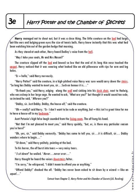fiche de lecture harry potter et la chambre des secrets harry potter 3ème lecture compréhension en anglais