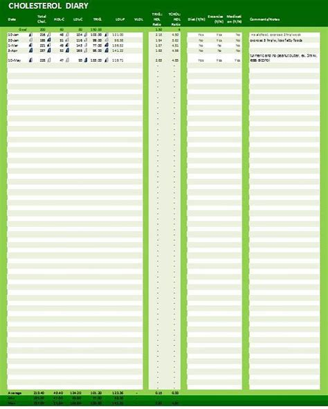 cholesterol diary excel template cholesterol levels