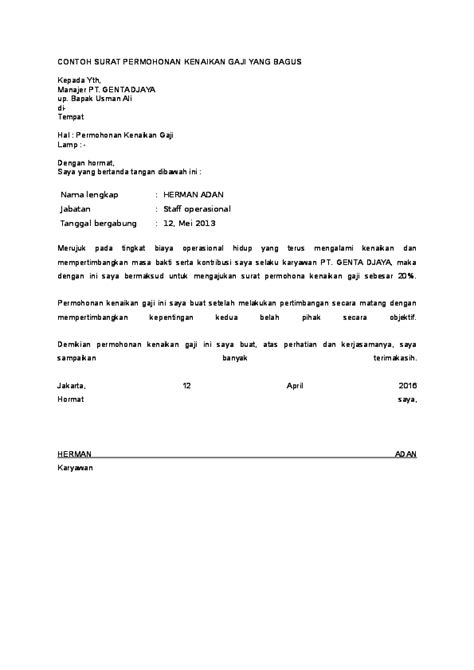 doc contoh surat permohonan kenaikan gaji yang bagus gusrini rubiyanti academia edu