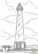 Coloring Lighthouse Cape Hatteras Carolina North Pages Printable Template Lighthouses Drawing Templates Puzzle Paper Sketch sketch template