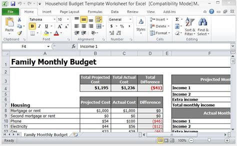 household budget template worksheet  excel