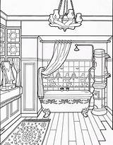 Coloring Bathroom Victorian Pages Adult Colouring Drawing Modern Para Houses Colorear Furniture Clean Sheet Dibujos Books Printable Sheets Interior Imprimir sketch template