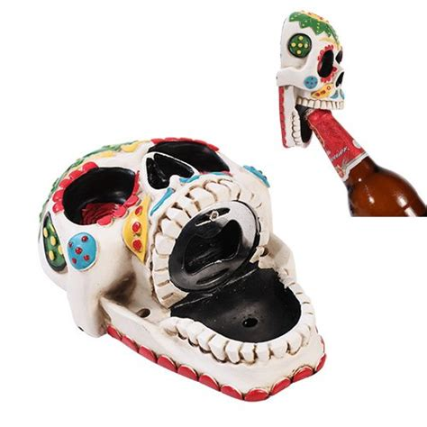 skull kitchen accessories day of the dead white sunflower sugar skull wall bottle 2293
