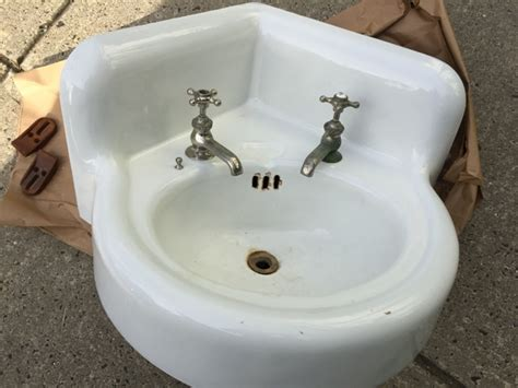 Vintage Porcelain Over Cast Iron Corner Wall Mount Sink Guest Bathroom Remodel Ideas Tiling A Small Tile Schemes Lay In Sheets For Floor Laying Flooring Vinyl Shower