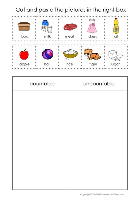 countable  uncountable nouns sorting set uncountable