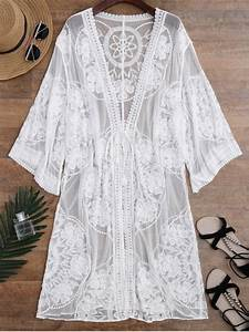 Sheer Lace Tie Front Kimono Cover Up WHITE: Beach Tops ONE ...