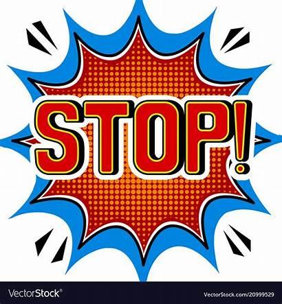 Stop Word Pop Comic Vector Sign Royalty