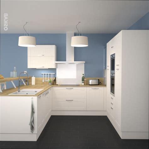 cuisine bois cuisine blanche et bois mur bleu