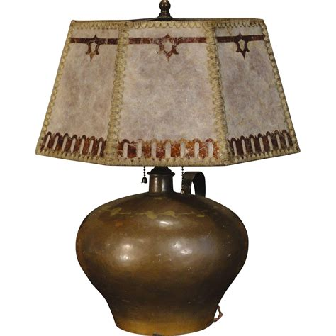 mica l shade company handcrafted arts crafts copper l w mica overlay shade