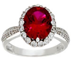 """as Is"" Diamonique Simulated Ruby Ring, Platinum Clad"