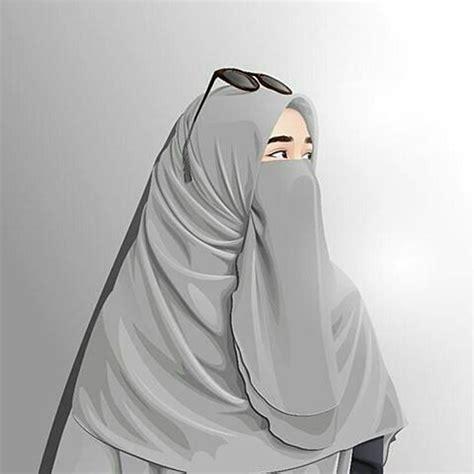 gambar kartun muslimah cantik bercadar kacamata comel