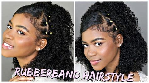 trendy rubber band style  naturalcurly hair