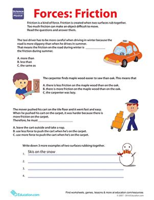 Learn About Force Friction  Worksheet Educationcom