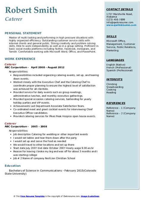 caterer resume samples qwikresume