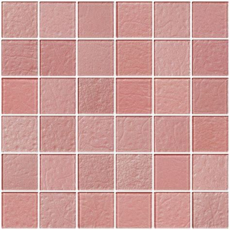 Glass Tile   2x2 Inch Pale Pink Rose Metallic Glass Tile