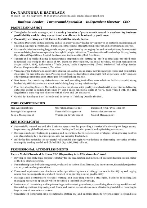 Key Points In Resume by Dr Narindra K Bachlaus Ind Cv Ceo Coo Independent Director