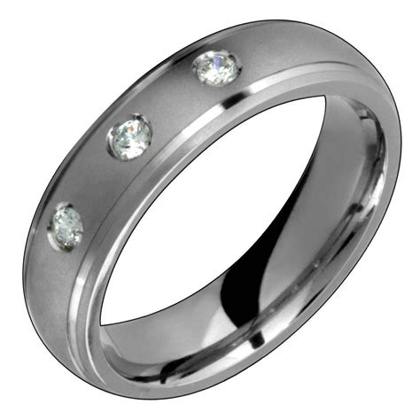 mens titanium ring with engagement wedding band