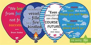 Inspirational Quote Balloons Display Pack - Classroom Learning