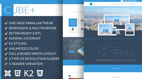 Cube Template Theme Forest by Cube One Page Parallax Joomla Theme By Dasinfomedia