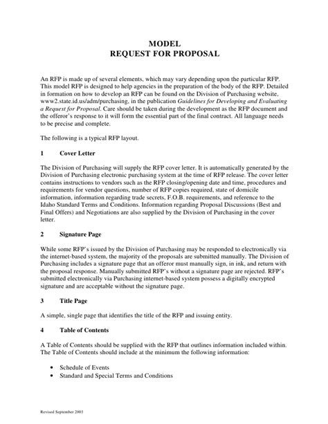 rfp requirements template sle request for format