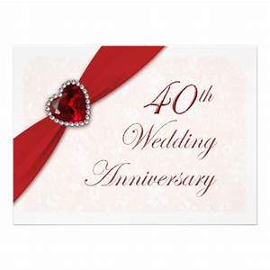 Damask 40th wedding anniversary invitation 55quot x 75 for 40th wedding anniversary invitations