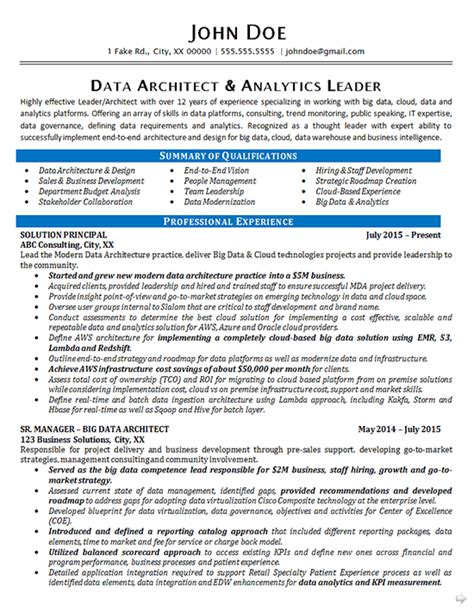 data architect resume exle data analytics it consultant