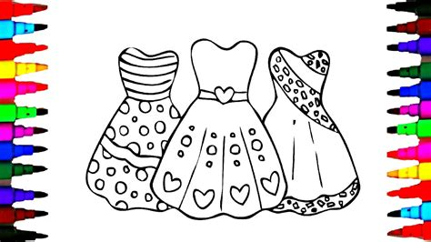 draw girls barbie dress coloring pages