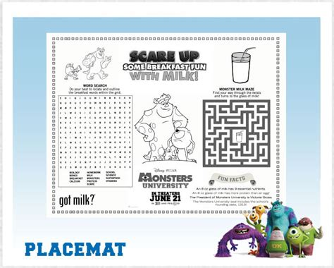 monsters university printable placemat printables  mom