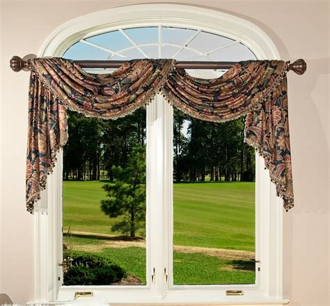 pole swag valance with cascades window treatment swags