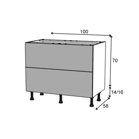 cuisine oskab silen ivoire meuble casserolier 2 tiroirs l100xh70xp58 oskab