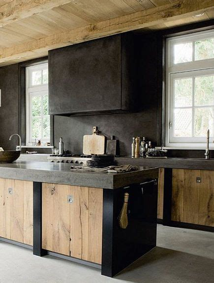 Modern Dutch Kitchen With Weathered Wood Cabinet Doors In