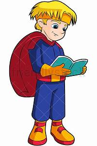 Little, Boy, Superhero, Reading, Book, Cartoon, Vector, Clipart